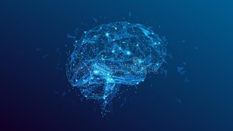 Illustration polygonale d'esprit humain sur le fond bleu illustration stock