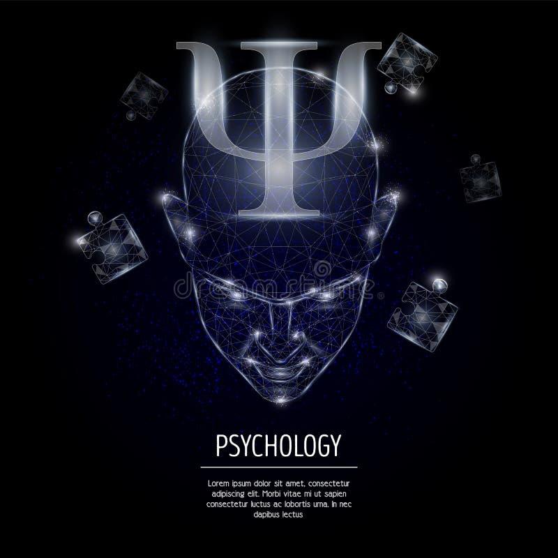 Illustration polygonale de style d'art de vecteur de concept de psychologie illustration stock