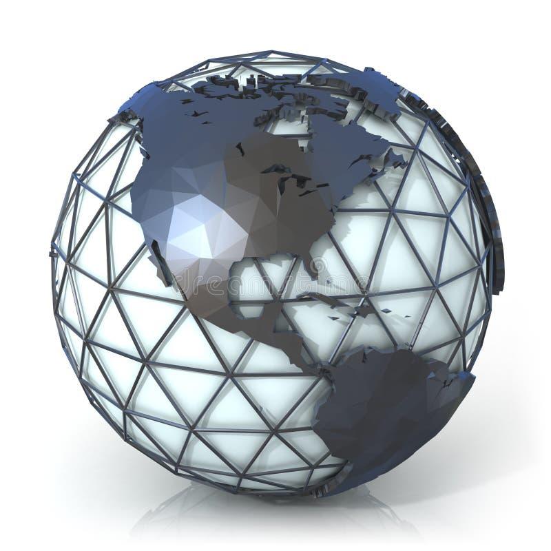 Illustration polygonale de style de globe de la terre, vue de l'Amérique illustration de vecteur