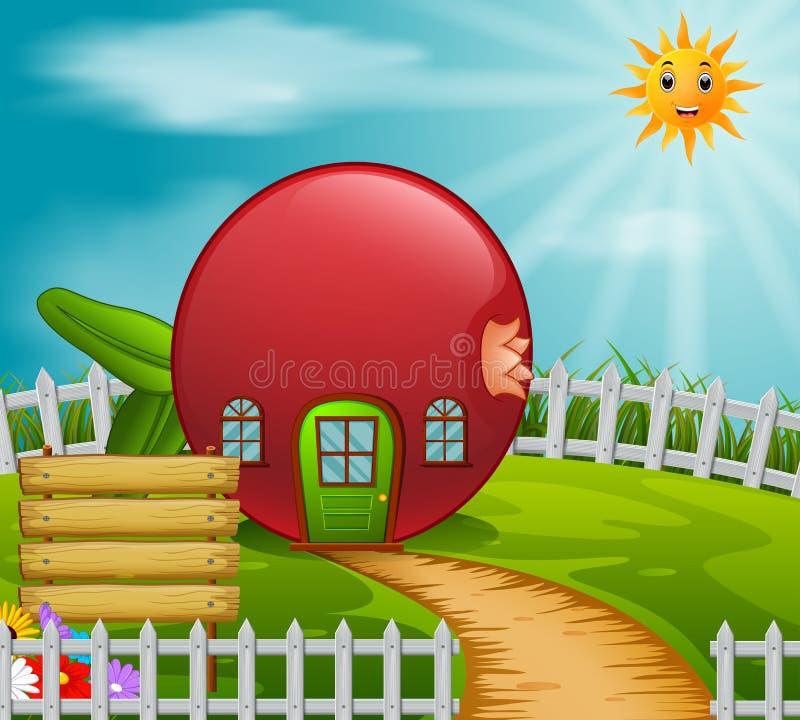 Pomegranate house in garden. Illustration of pomegranate house in garden royalty free illustration