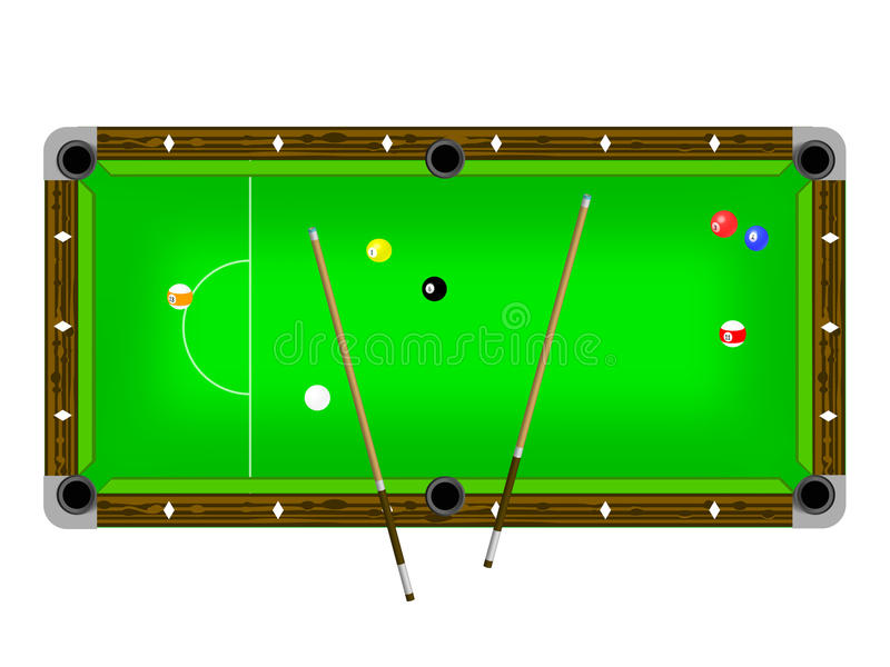 Illustration of a pool table. With cues and pool balls isolated on white vector illustration
