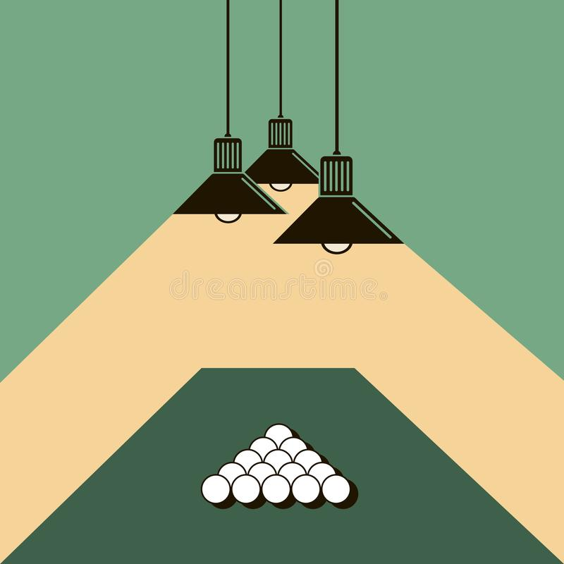 Pool table with balls. Illustration of pool table with billiard balls and ceiling lamps stock illustration