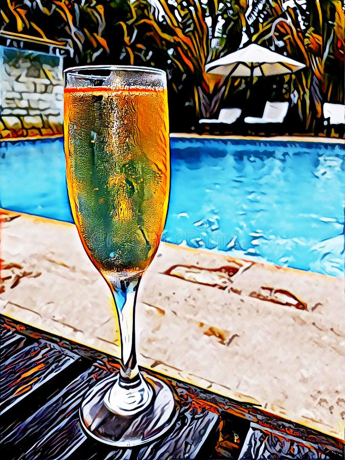 Illustration of Poolside Drink in a Champagne Glass stock photos