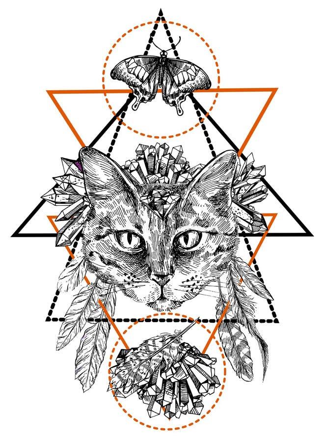 Illustration portrait of cat. Hand-drawn vector illustration portrait of cat. Sketch style. Use for tattoo, poster, postcard, web, t-shirt print vector illustration