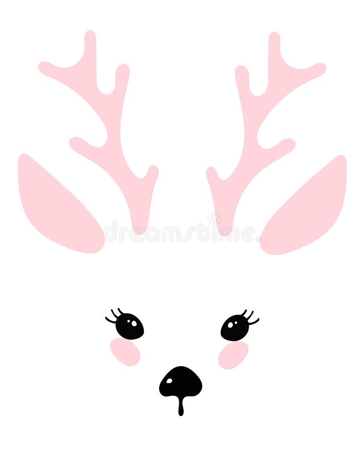Illustration with a deer head, cute animal design details, nose, eyes, ears, horns. Fawn for print. Simple vector. Illustration with a portrait of a deer. The vector illustration