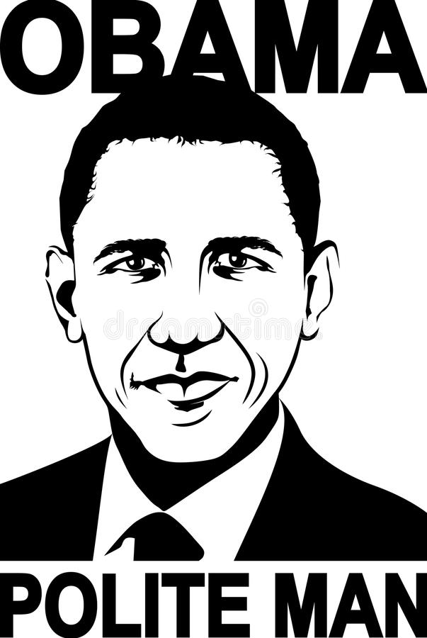 A illustration of a portrait of the the 44th President of USA Barack Obama vector illustration