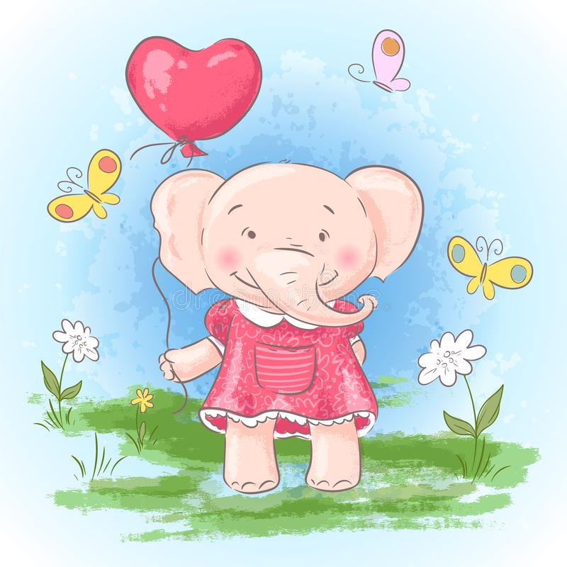 Illustration postcard cute baby elephant with a balloon, flowers and butterflies. Print on clothes and children`s room royalty free illustration