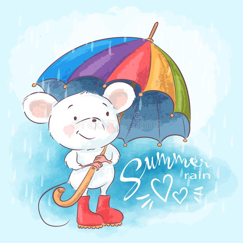 Illustration postcard cute cartoon mouse with umbrella vector illustration