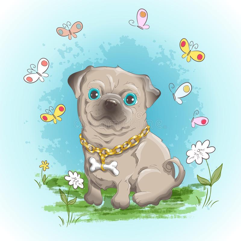 Illustration postcard cute little dog bulldog and butterflies. Print on clothes and children`s room vector illustration