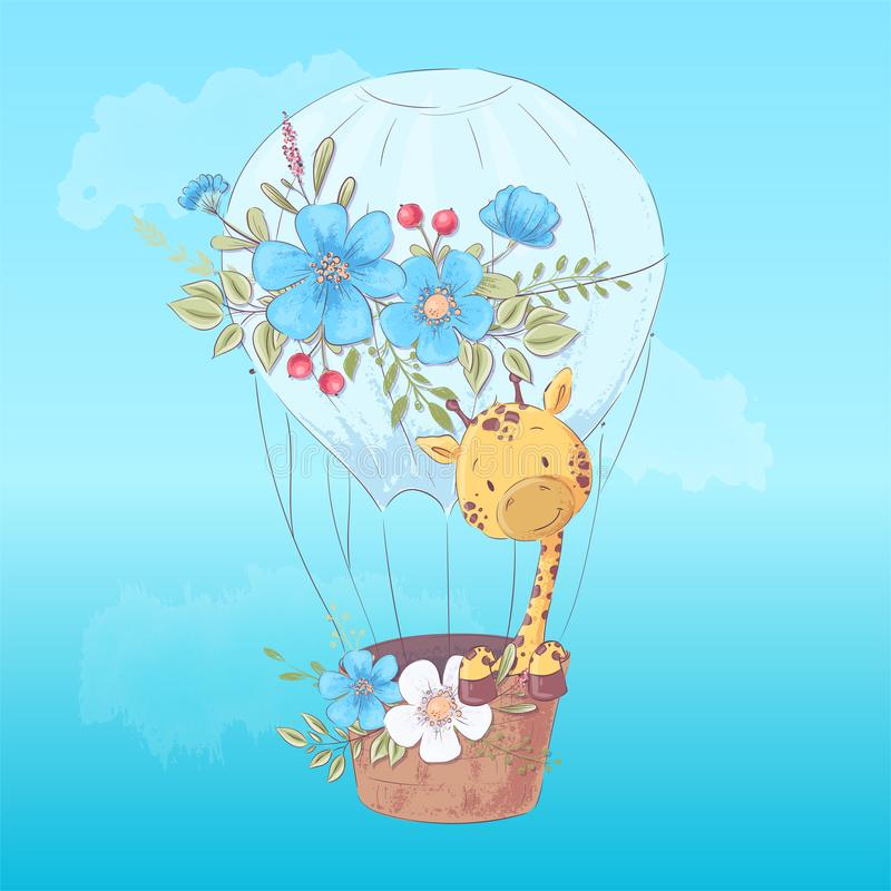 Illustration postcard or fetish for a children`s room - cute giraffe in a balloon, vector illustration in cartoon style vector illustration