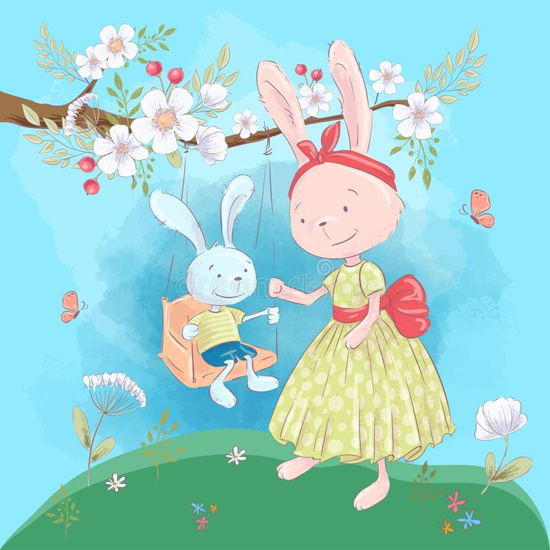 Illustration postcard or fetish for a children`s room - cute rabbits mom and son on a swing with flowers, vector royalty free illustration
