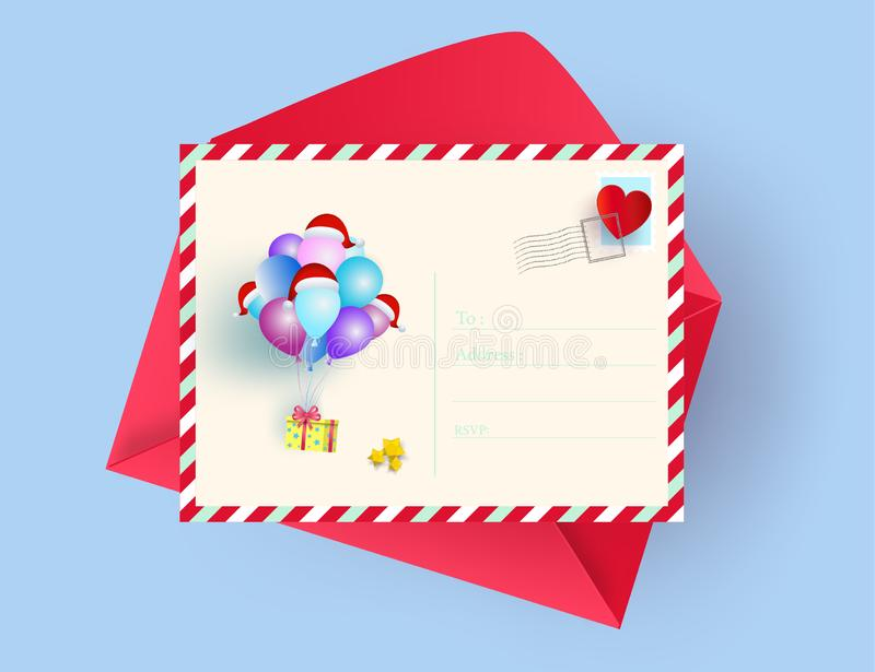 Illustration of postcard merry christmas and happy new year greeting card concept. Paper art and digital craft style. royalty free illustration