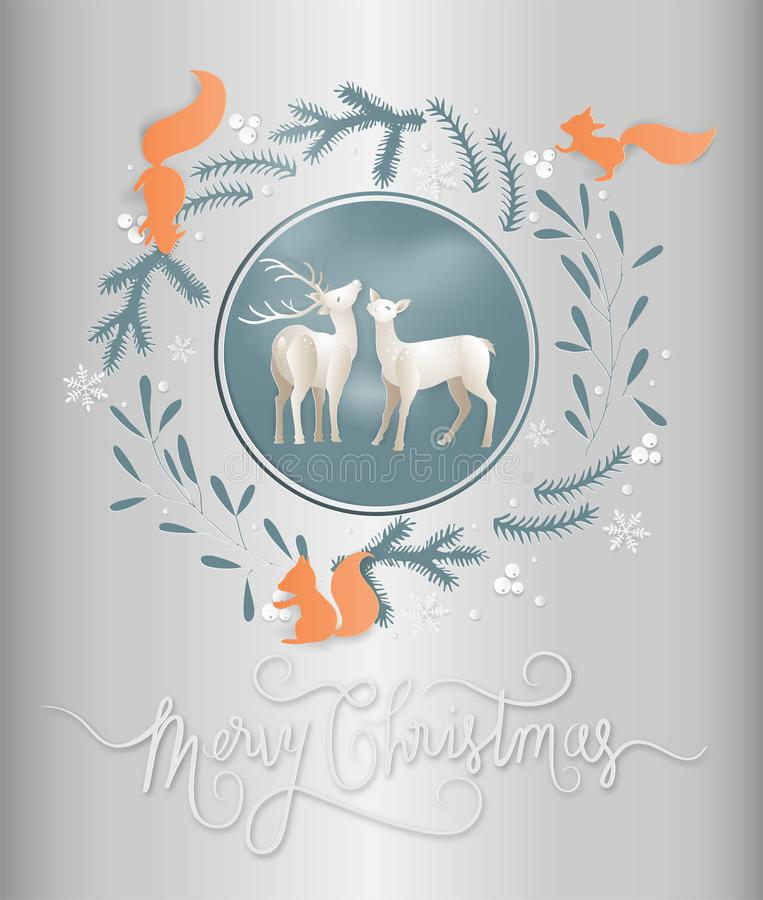 Illustration of postcard winter season and reindeer with squirrels in a garland of flowers and leaves background. Merry christmas. And new year greeting card royalty free illustration
