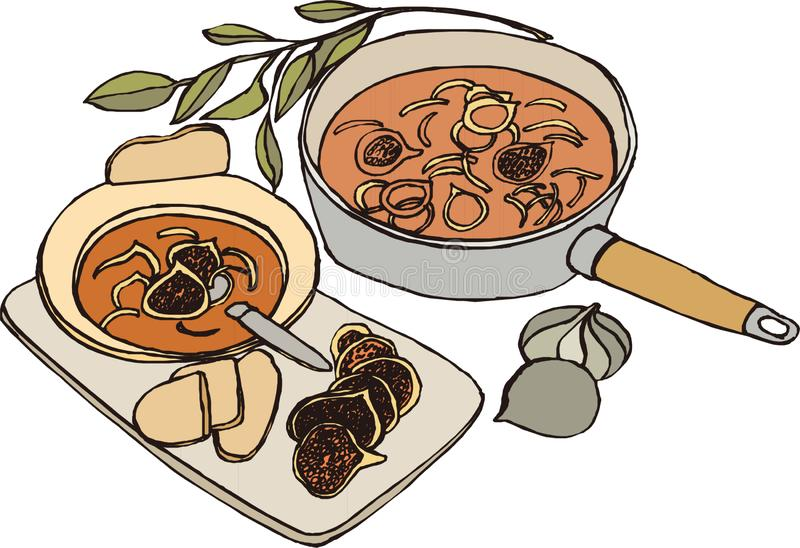Illustration A pot of very nutritious miso soup royalty free illustration