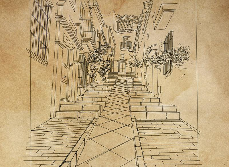 landscape with staircase of an alley of a country An illustration of potted plants hanging on the wall. royalty free illustration