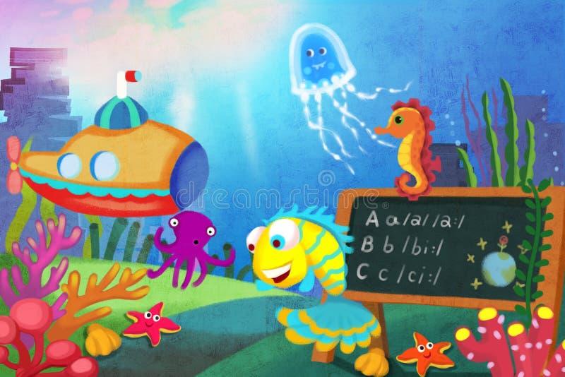 Illustration pour des enfants : Commençons notre leçon ! Le petit poisson va bien d'abord à un professeur dans l'école de mer illustration libre de droits