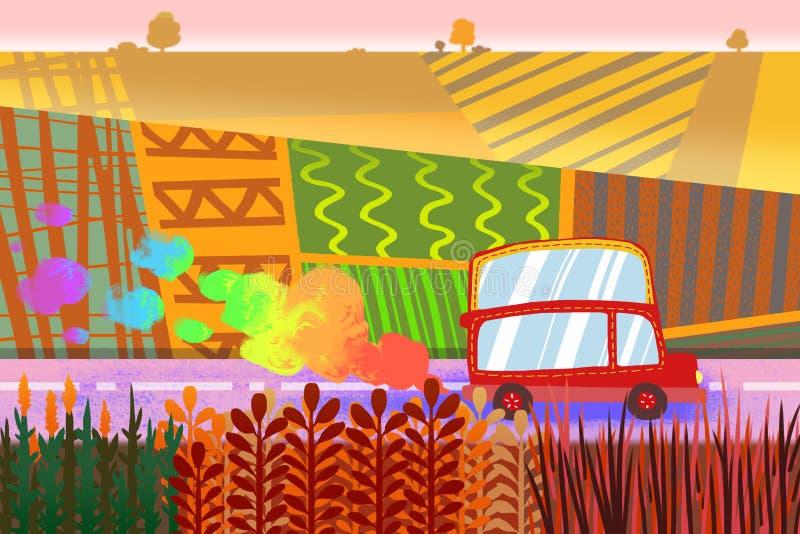 Illustration pour des enfants : La petite voiture heureuse roulant dans les domaines colorés illustration stock