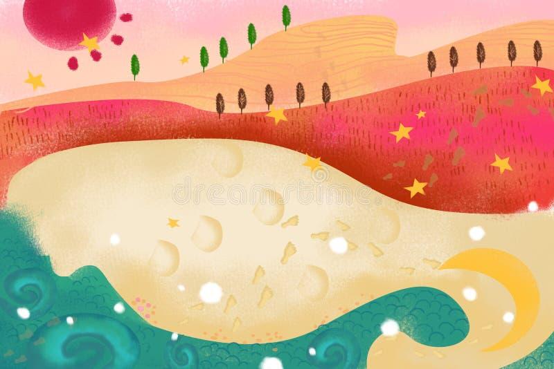 Illustration pour des enfants : La plage de sable avec des empreintes de pas illustration stock