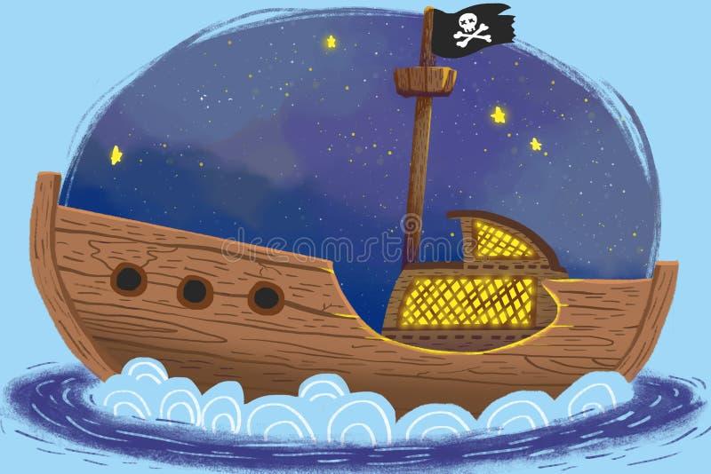 Illustration pour des enfants : Le bateau de pirates sous la nuit étoilée illustration stock