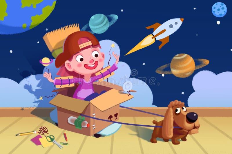 Illustration pour des enfants : Petit chienchien, nous sommes dans l'espace maintenant ! La fantaisie d'un garçon illustration libre de droits