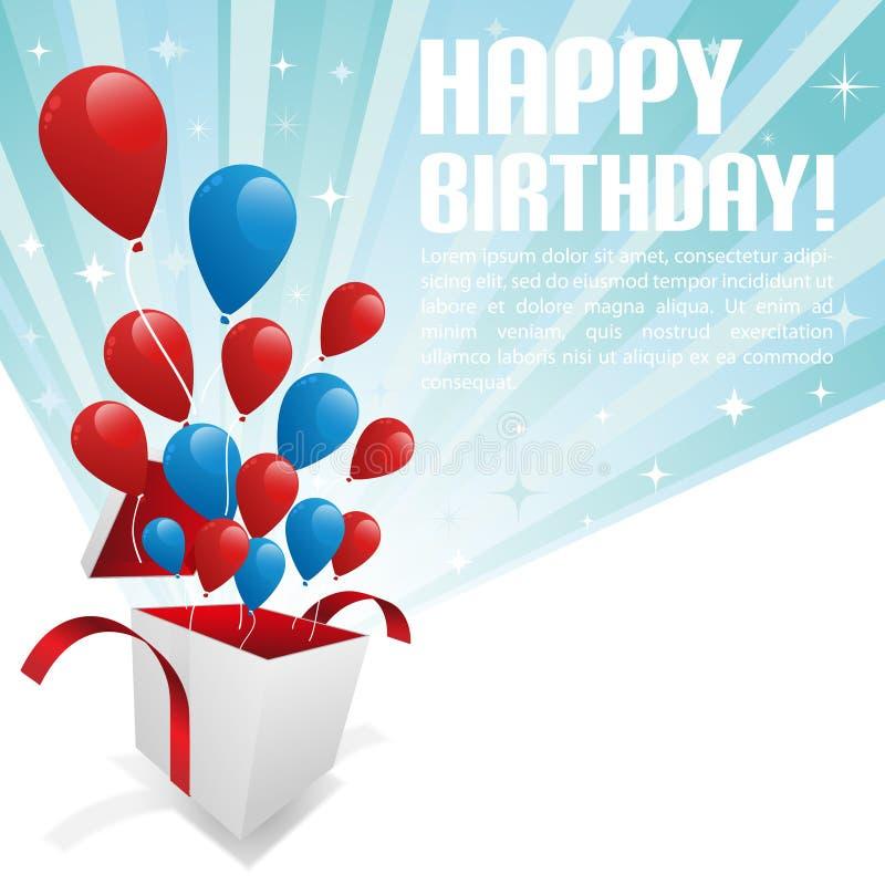 Illustration pour la carte de joyeux anniversaire avec des ballons illustration stock