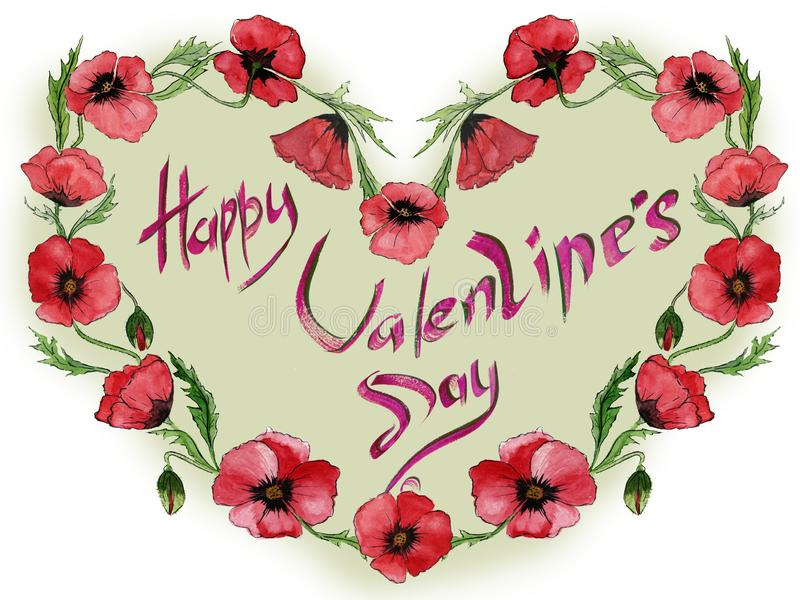 Illustration pour la carte de Valentine Les fleurs rouges de pavot font un cadre en forme de coeur avec le jour heureux du ` s de illustration stock