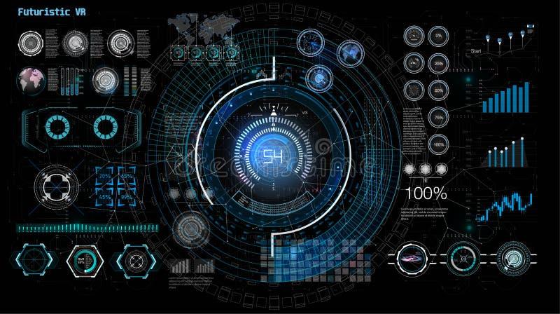 Illustration pour la conception de l'avant-projet Ensemble d'isolement de vecteur Conception d'?cran futuriste d'interface de hud illustration de vecteur
