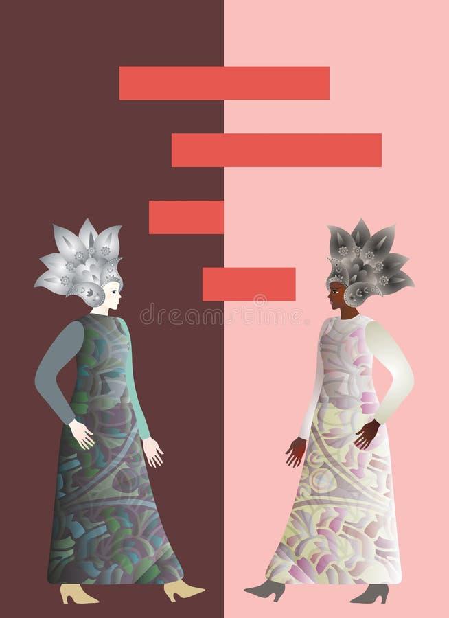 Illustration pour la couverture de livre Les filles africaines et européennes abstraites modèle sur le fond brun et rose illustration de vecteur