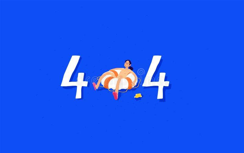 Illustration pour la page 404 Utilisateur dans l'océan sur un conservateur de vie Interface gestionnaire avec un tambour de basqu illustration libre de droits