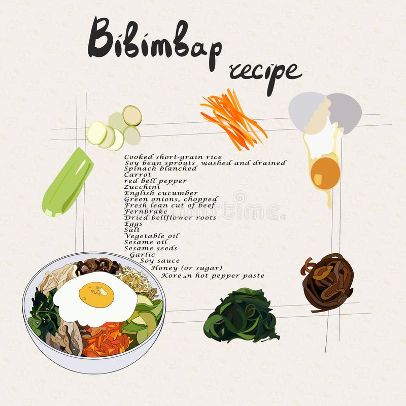Illustration pour le bibimbap de recette Placez des produits de bibimbap illustration de vecteur