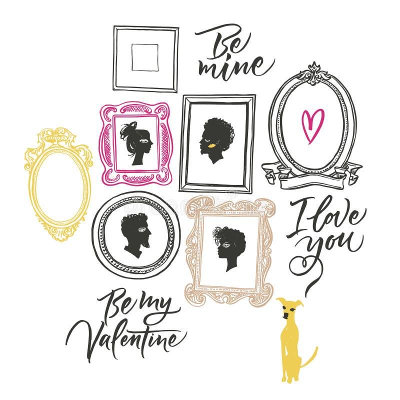 Illustration pour le jour du ` s de Valentine Portraits des amants, illustration de vecteur