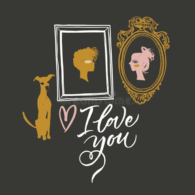 Illustration pour le jour du ` s de Valentine Portraits des amants, du chien de attente et des options pour des écritures illustration stock