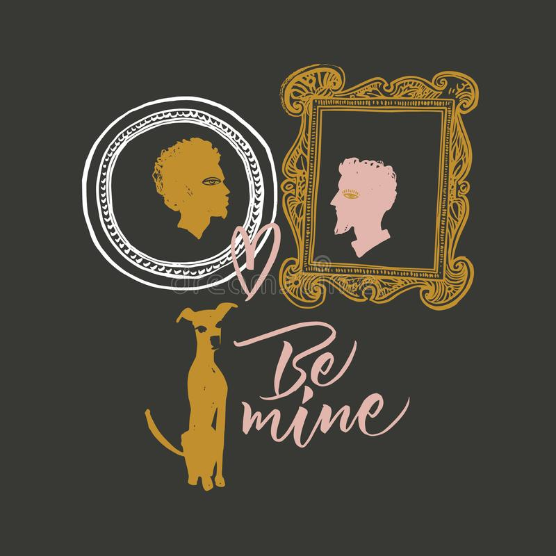 Illustration pour le jour du ` s de Valentine Portraits des amants, du chien de attente et des options pour des écritures illustration de vecteur