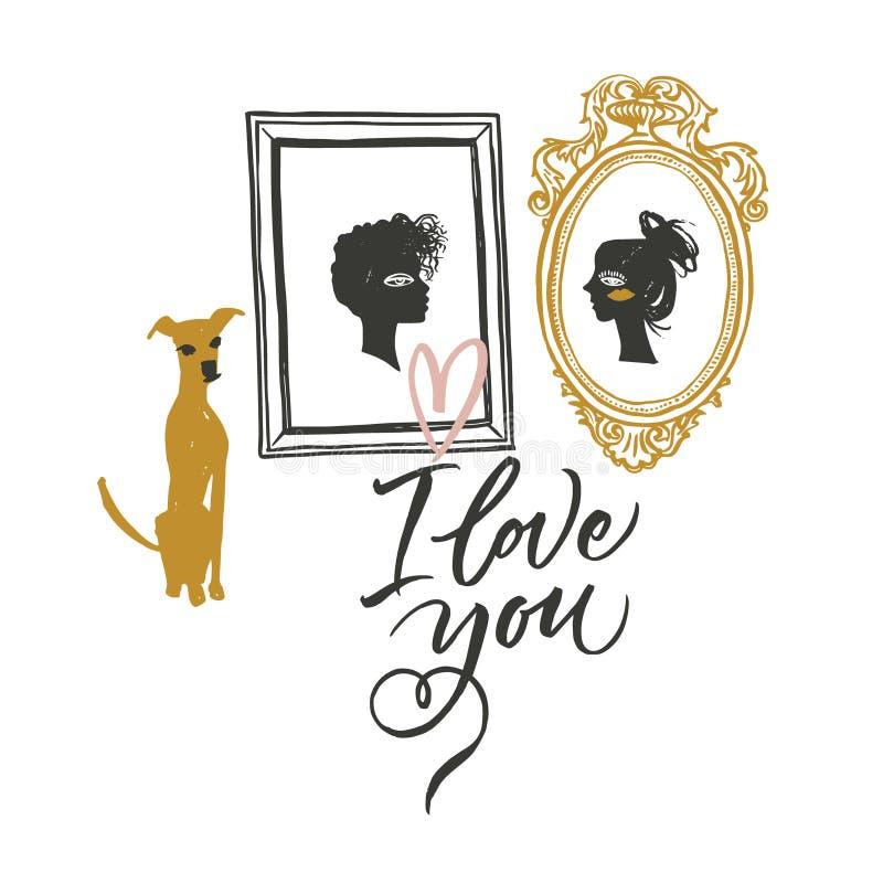 Illustration pour le jour du ` s de Valentine Portraits de deux amants et de chien de attente illustration libre de droits