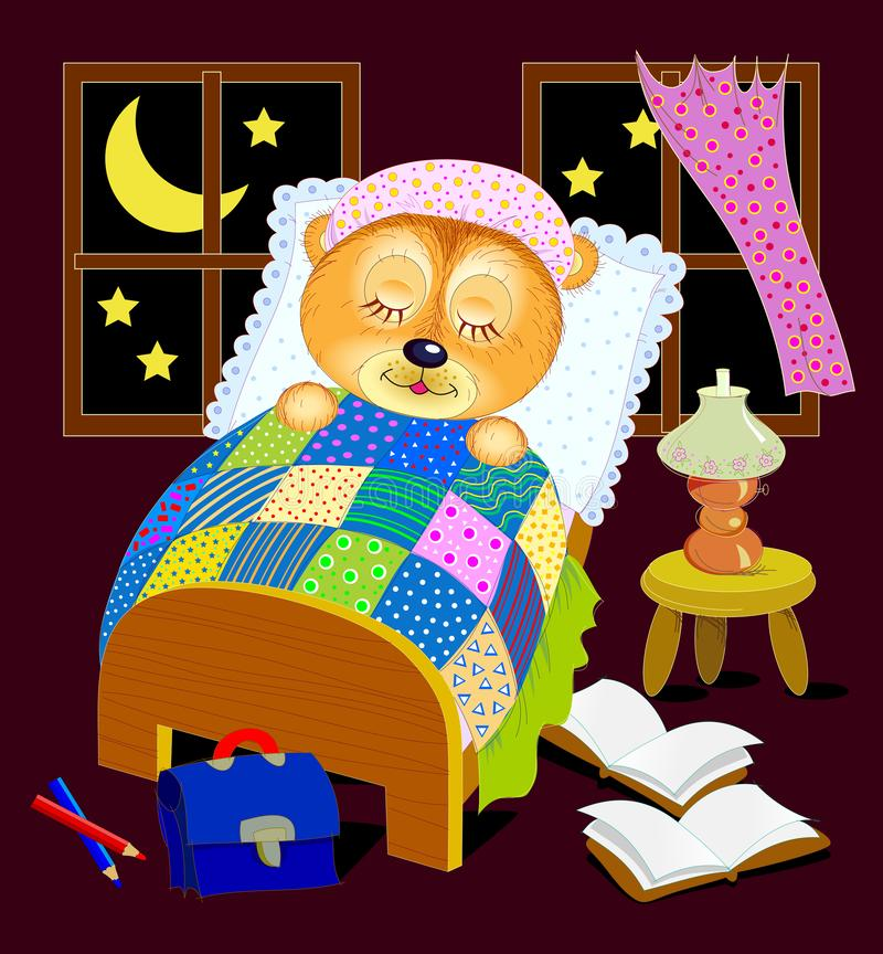 Illustration pour le livre de b?b? Le petit ours de nounours dort la nuit dans son lit après lecture Bonne nuit illustration stock