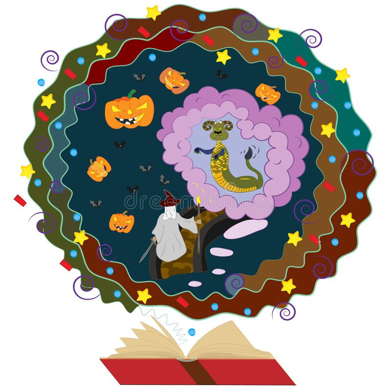 Illustration pour le livre de conte de fées le magicien et le monstre dans la caverne dans Halloween illustration de vecteur