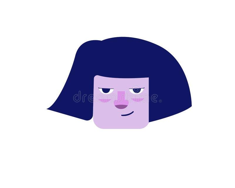 Illustration pourpre de visage de femme dans le style plat illustration libre de droits