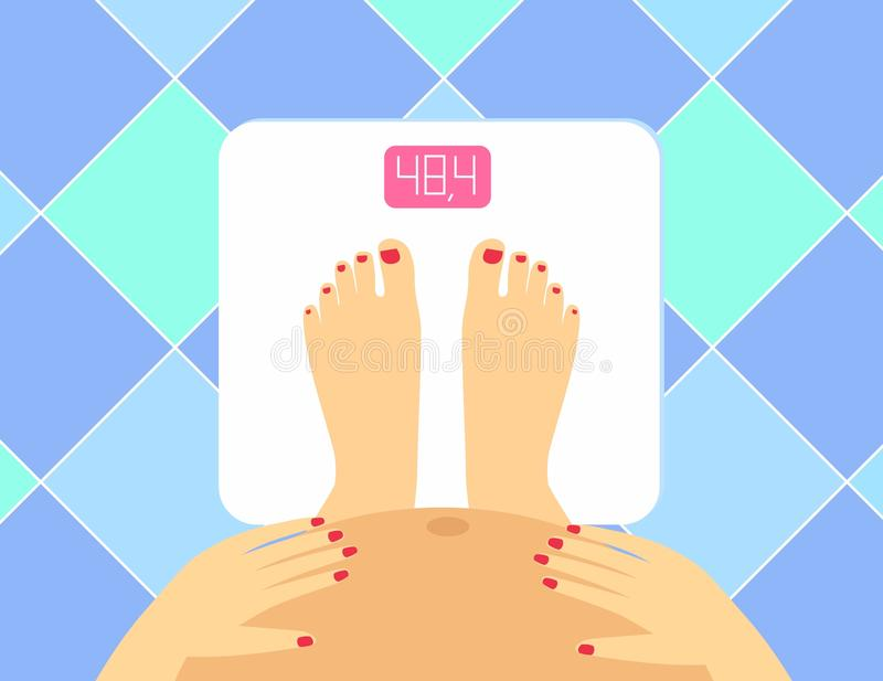 Illustration of Pregnant female legs and tummy on the floor scales. Vector weight watcher. Pregnant woman the concept of a health. Y lifestyle stock illustration