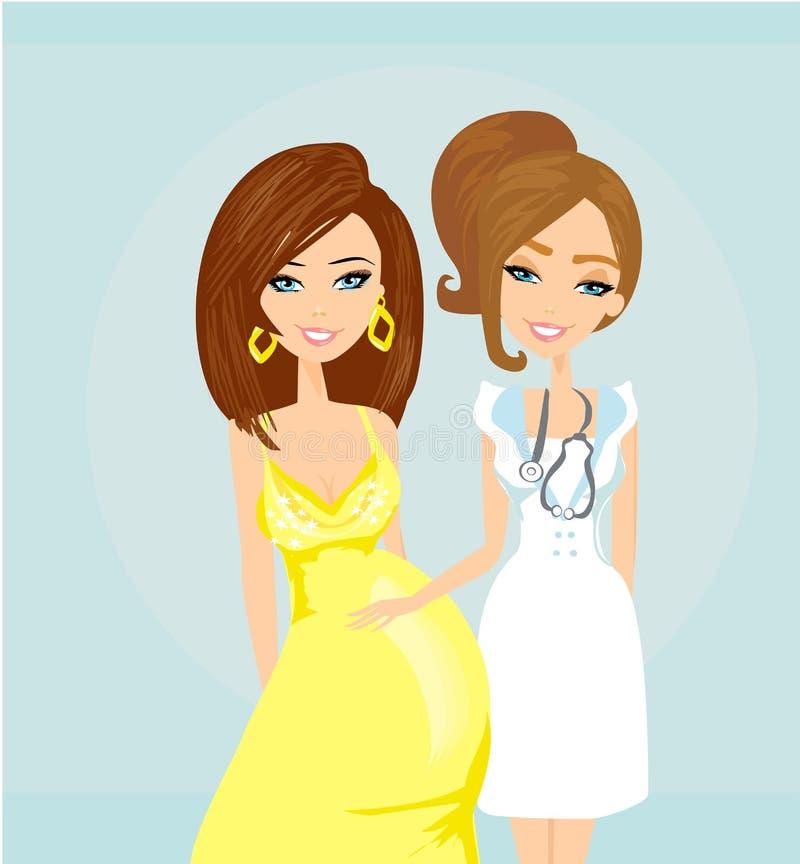 Pregnant Woman Having a Prenatal Checkup. Illustration of a Pregnant Woman Having a Prenatal Checkup royalty free illustration