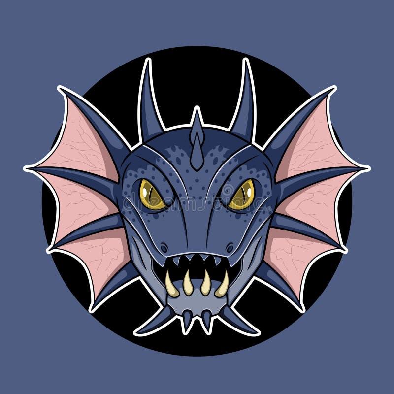 Illustration principale de bande dessinée de logo de poissons de monstre illustration stock