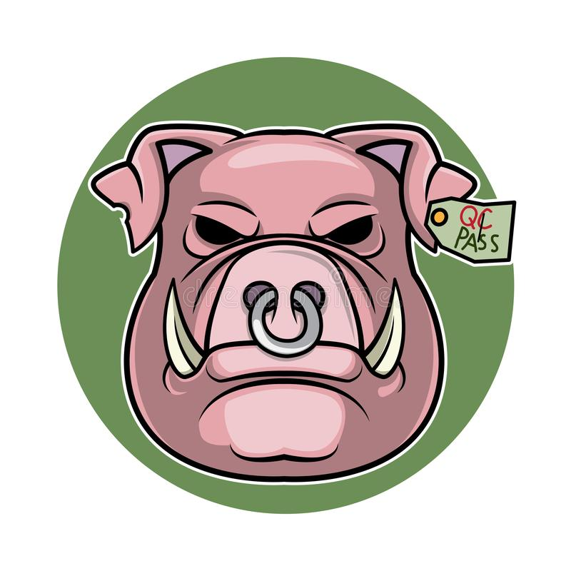 Illustration principale de vecteur de logo de porc de bande dessinée illustration libre de droits