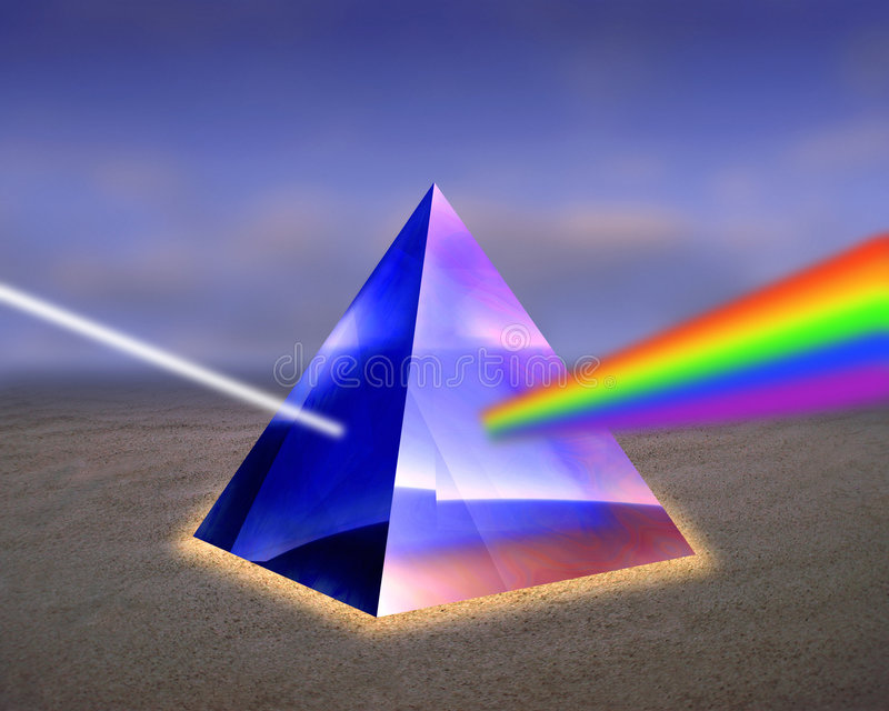 Illustration of a prism with rays of light. stock photography