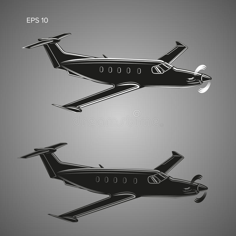 Illustration privée de vecteur plat Avions de luxe de moteur simple graphisme Ensemble transparent blanc et noir noir illustration de vecteur