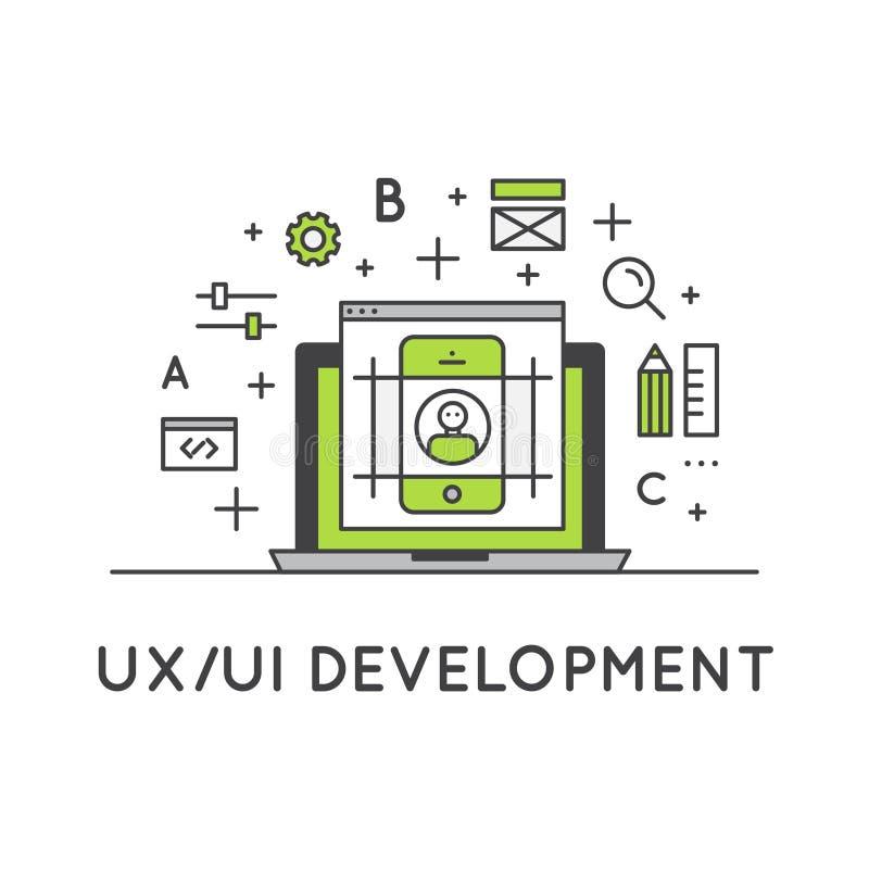 Illustration process av för UX UI användargränssnitt- och användareerfarenhet vektor illustrationer