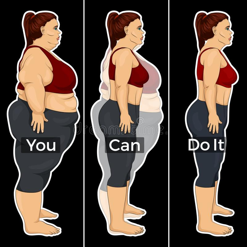 Illustration of the process of losing weight of a woman stock images