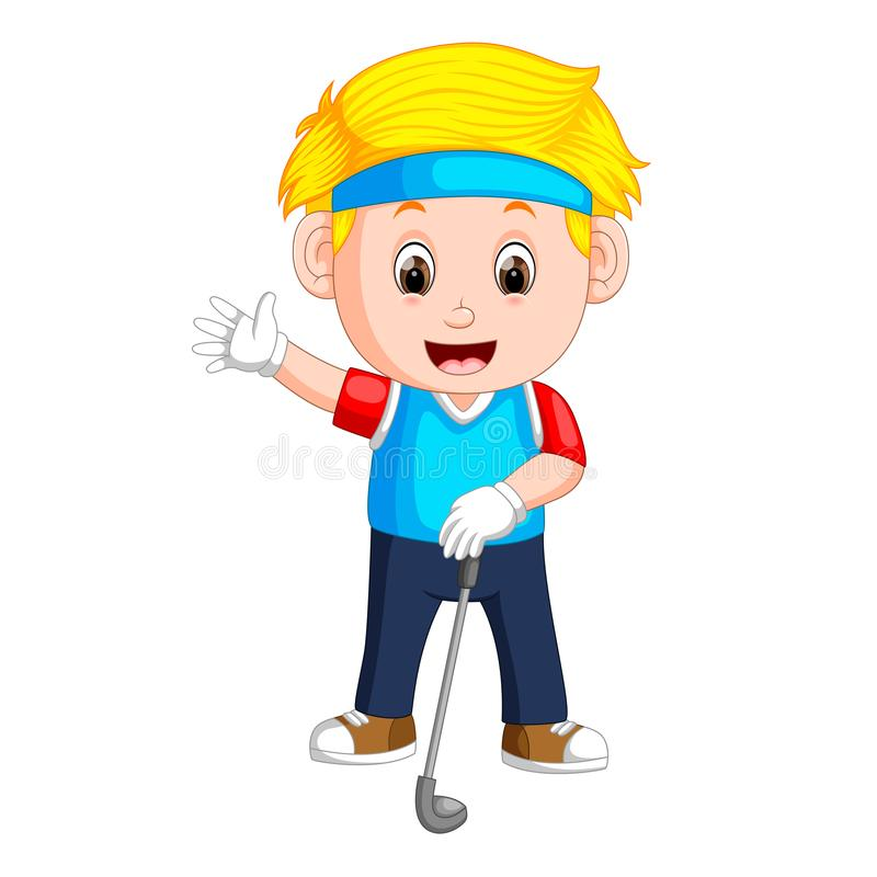 The profesional boy playing golf with the good posing. Illustration of the profesional boy playing golf with the good posing vector illustration