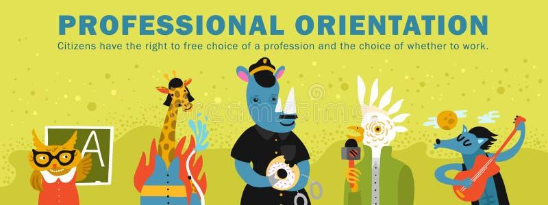 Illustration professionnelle humanisée d'orientation d'animaux illustration stock