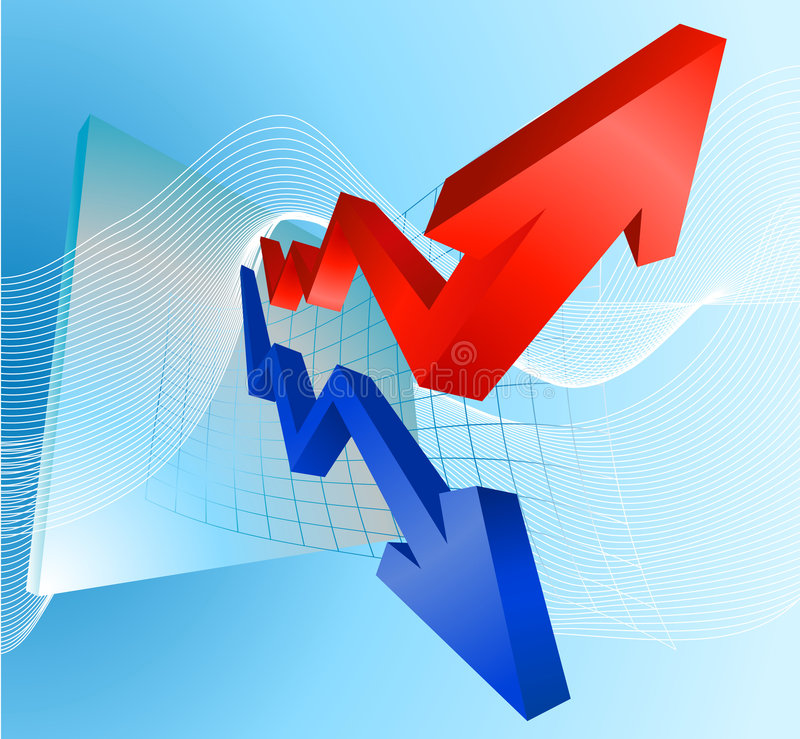 Illustration Of Profit And Loss Graph With Arrows Royalty Free Stock Photo