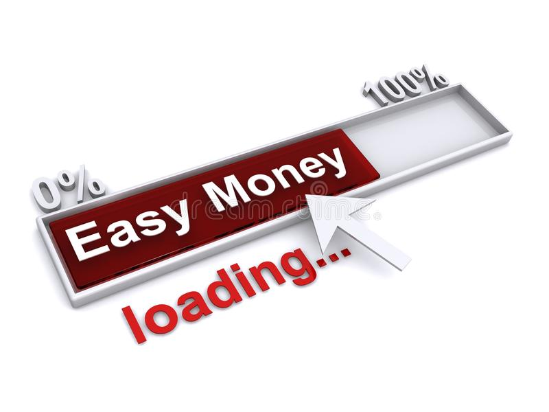 Easy money loading. An illustration of a progress bar with the text 'Easy Money loading royalty free illustration