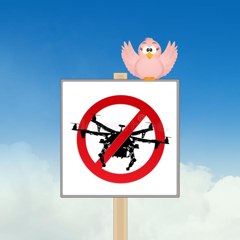 Prohibition to use the drone. Illustration of prohibition to use the drone stock illustration